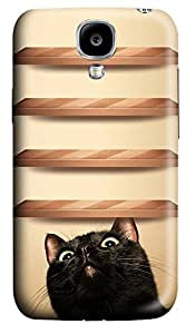 Samsung S4 Case Curious Cat Wood Shelves179 3D Custom Samsung S4 Case Cover WANGJING JINDA