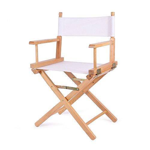 Vogvigo Directors Chair Canvas Contemporary Chair Contracted Folding Chair Mahjong Computer Desk Recreational Chair Canvas Wooden Chair (White) by Vogvigo