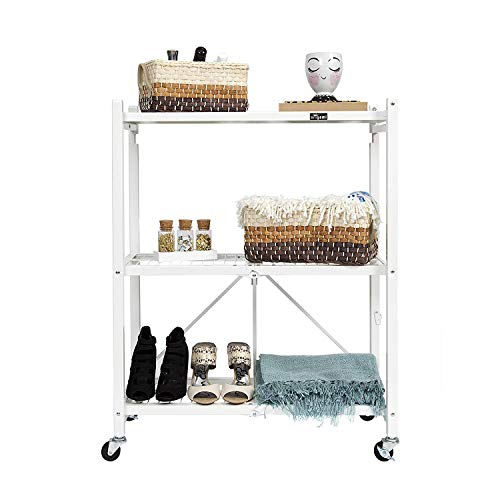 Origami General Purpose Collapsible Foldable 3-Shelf Small Storage Rack with Wheels | Pre-Assembled, Closet Shelves, Microwave holder, laundry storage, 3 tier small wire shelf, Rolling cart - White