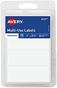 Avery 6113 All-Purpose Labels, 1 x 2.75 Inches, White, Pack of 128