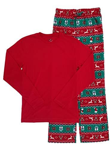 (Joe Boxer Mens 2-Piece Christmas Holiday Fair Isle Reindeer Fleece Sleepwear Pajama Set L)