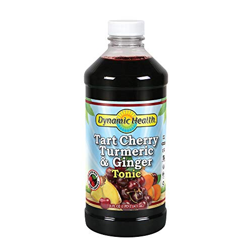 Dynamic Health Tart Cherry Juice Tonic with Turmeric & Ginger   Vegetarian and Kosher   Key Compounds   16 oz, 16 Serv