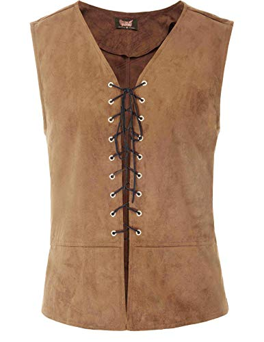 SCARLET DARKNESS Mens Gothic Steampunk Lace-up Vest Renaissance Waistcoat (Color-3, L) ()