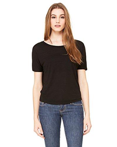 Bella + Canvas Womens Flowy Open Back T-Shirt (B8871) -BLACK -L