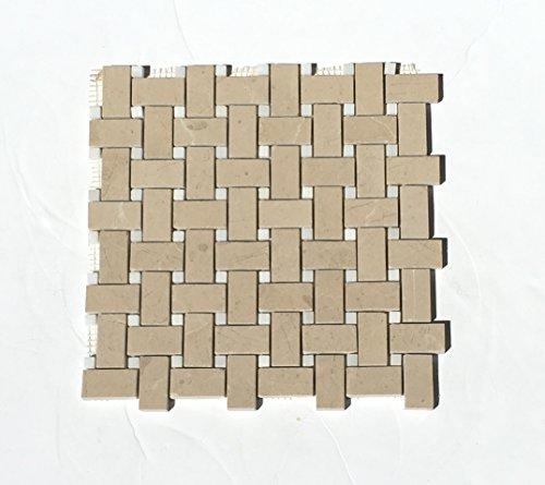 (Royal Crema Verona Beige Marble Basketweave Tile with White Marble Dot Polished )