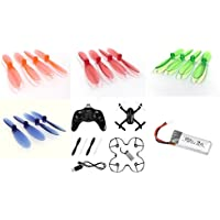 Hubsan X4 Plus H107P [QTY: 1] HUBSAN X4 Plus H107P Quadcopter [QTY: 1] H107P-09 Battery 3.7v 520mah LiPo Power Pack Drone Part [QTY: 1] Transparent Clear Blue Propeller Blades Props Rotor Set 55mm Fac