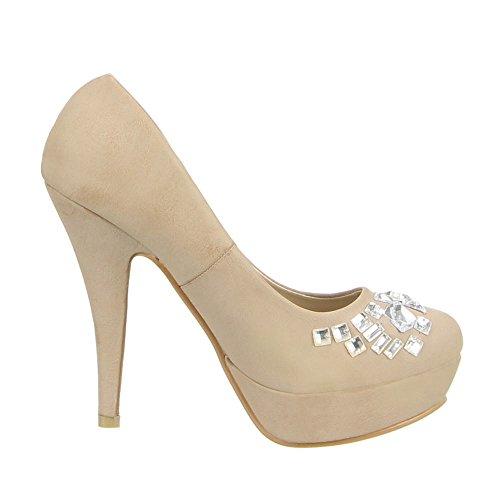 Ital-Design - Zapatos de vestir de Material Sintético para mujer 46 Marrón - caqui