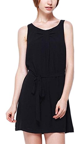 Line Crew A Dress Chiffon Party Jaycargogo Women Black Neck Sleeveless wCRRqY