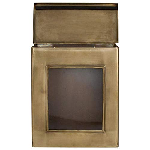 Naiture Brass Vertical Wall-Mount Mailbox with Viewing Panel in Antique Brass Finish (Antique Brass Mailbox)