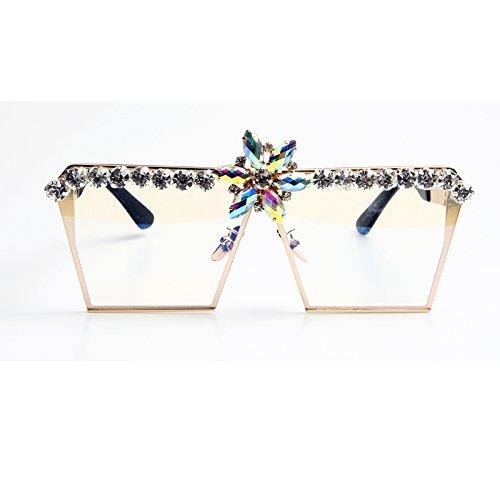 Rosa TIANLIANG04 De De Gafas clear Strass Sobredimensionados Lujo Gradiente Sunlgasses De Gafas Sol Vintage Uv400 ra5xOrq