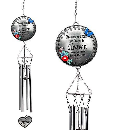 (BANBERRY DESIGNS Memorial Windchimes Condolence - Because Someone We Love is in Heaven - Butterfly and Flower Design Garden Wind Chime with Heart Charm - in Loving Memory Chimes)