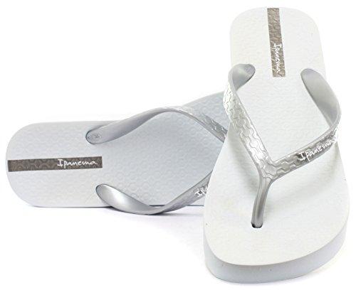 Ipanema Brasil Platform Damen Flip Flops, Weiß-Silber, Größe 38