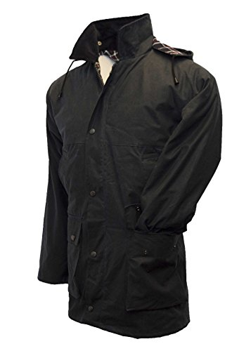 Walker & Hawkes - Mens Unpadded Wax Jacket Countrywear Hunting Waxed Coat - Navy - Medium