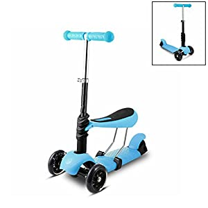 Leoneva Kids Kick Scooter with Seat, 3-Wheels Mini Scooter with LED Light Up Wheels, 3-In-1 Adjustable Height Micro Kick Scooter for Kids/Boys/Girls/ Toddler (US Stock) (Blue)
