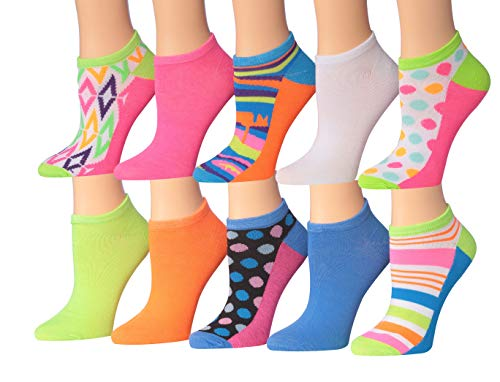 Tipi Toe Women's 10 Or 12-Pairs Colorful Patterned Low Cut/No Show Socks (NS113-10, 9-11 (Shoe size 6-12)) ()