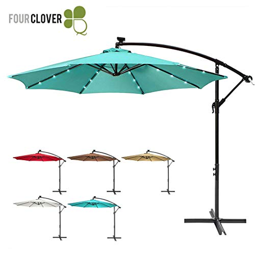 (FOUR CLOVER 10 Ft Deluxe Solar 32 LED Lighted Patio Umbrella Offset Hanging Umbrella Outdoor Market Umbrella Garden Umbrella, 250g/sqm Polyester, with Cross Base and Crank (Turquoise))