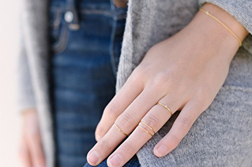 HONEYCAT Super Skinny Hammered Stacking Rings Trio Set | Minimalist, Delicate Jewelry by HONEYCAT (Image #5)