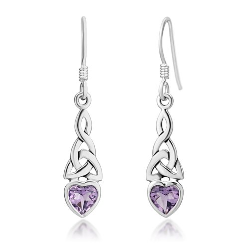 Purple Stone Amethyst (925 Sterling Silver Celtic Knot Purple Amethyst Gemstone Heart Drop Dangle Hook Earrings)