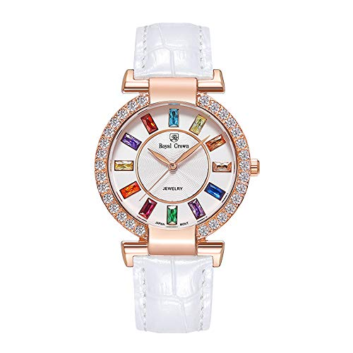 Royal Crown Women's Crystal-Accented Fashion Leather Rose Gold-Tone Bangle Watch Jewelry Bracelet Wrist Watches