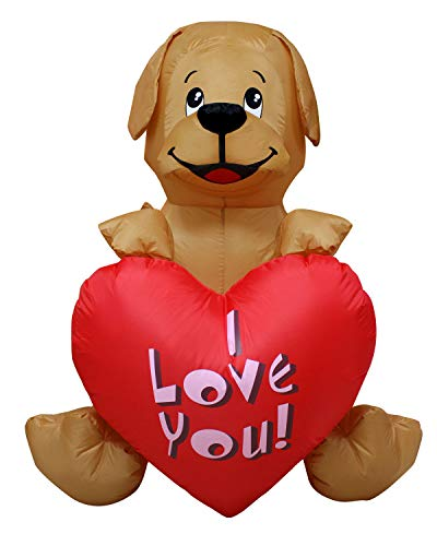 SEASONBLOW 4 Ft Inflatable Valentine's Day Puppy Dog with Heart Decor I Love You Birthday Wedding Anniversary Party Light Decoration (Happy Inflatable Easter)