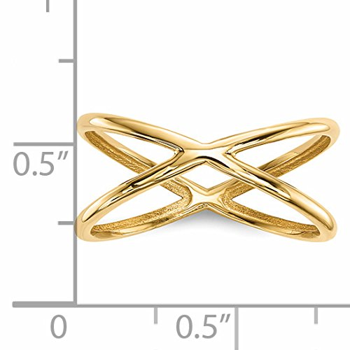 ICE CARATS 14k Yellow Gold Double Band Ring Size 7.00 Fine Jewelry Gift Set For Women Heart by ICE CARATS (Image #5)