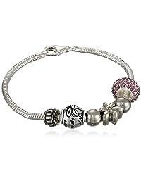 "Sterling Silver Life is Precious Bead Charm Bracelet, 7.5"""