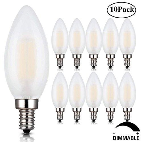 Frosted Dimmable LED 4W Candelabra Light Bulbs, LED Chandelier Bulbs,C35 4 Watt Filament LED Bulb, E12 Base Dimmable LED Candle Bulbs, Torpedo Shape Bullet Top,2700K Warm White,10 Pack