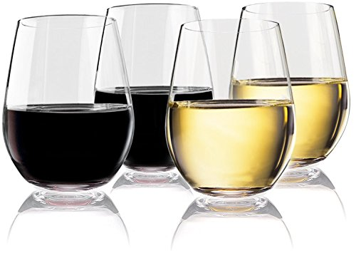 Vivocci Unbreakable Elegant Plastic Stemless Wine Glasses 20 oz | 100% Tritan Heavy Base | Shatterproof Glassware | Ideal For Cocktails & Scotch | Perfect For Homes & Bars | Dishwasher Safe | Set of 4 (Plastic Shot Personalized Glasses)