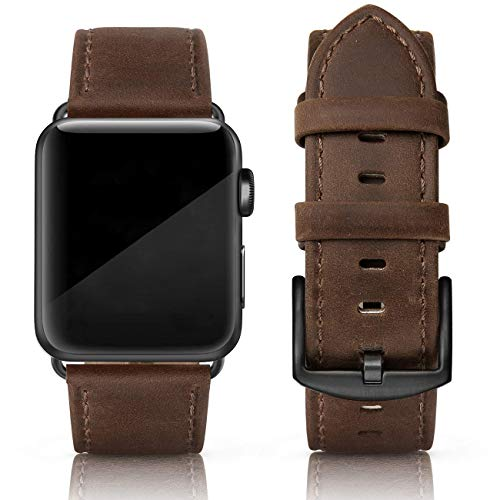 SWEES Leather Bands Compatible for iWatch Apple Watch 42mm 44mm, Genuine Leather Vintage Wristband Compatible iWatch Apple Watch Series 4, Series 3, Series 2, Series 1, Sports & Edition Men, Chocolate