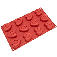 Freshware SM-110RD 12-Cavity Silicone Mini Valentine Heart Muffin, Brownie, Cornbread, Cheesecake, Pudding, Jello Shot and Soap Mold