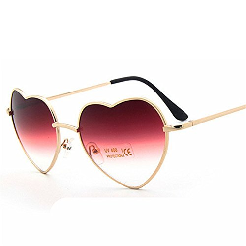 Love Heart Shaped Glasses Reflective Sunglasses Sunglasses Metal Frame (Sniper Mirror Goggles)