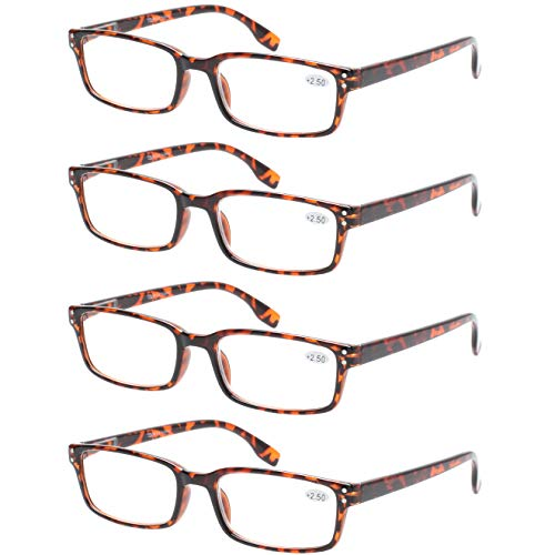 (READING GLASSES 4 Pack Spring Hinge Comfort Readers Plastic Includes Sun Readers (4 Pack Tortoise, 2.75))