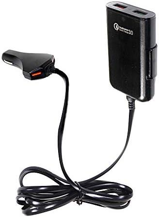 USB 4ポート QC3.0 急速充電 車載充電器 Quick Charge 3.0 カーチャージャー シガーソケット 前席2ポート×後席2ポート 後部座席取付フック付き 汎用