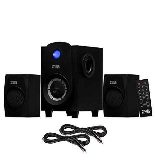 Acoustic Audio AA2107 Bluetooth Home 2.1 Speaker System with USB and 2 Extension Cables by Acoustic Audio by Goldwood