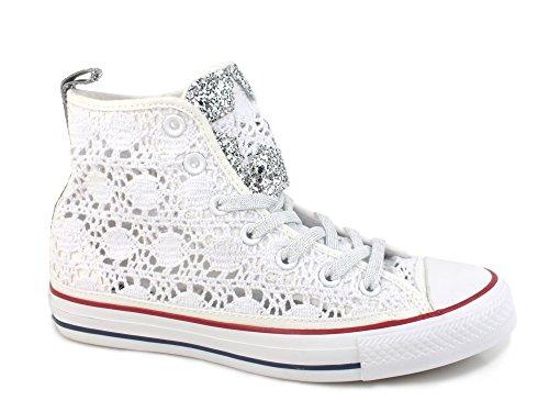 Converse - Zapatillas de Lona para mujer Blanco white silver glitter