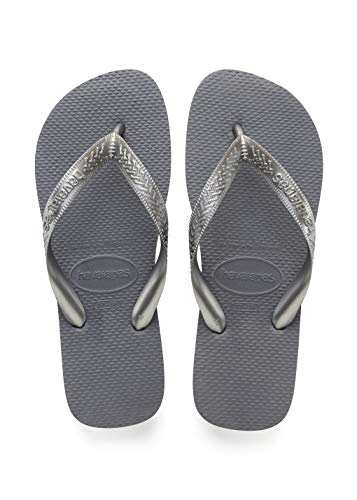 Havaianas Rubber Sole Sandals - Havaianas Women's Top Tiras Flip Flop Sandal,Steel Grey, 37/38 BR(7-8 M US Women's / 6-7 M US Men's)