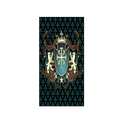 (3D Decorative Film Privacy Window Film No Glue,Medieval,Heraldic Design of a Middle Ages Coat of Arms Cross Crown Lions Swirls Decorative,Teal Black Cinnamon,for Home&Office)