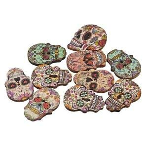 JumpingLight 20 Sugar Skull 2-Hole Wooden Buttons About 1