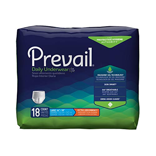 Prevail Pull (Prevail Extra Absorbency Incontinence Underwear Large 18 Count (Pack of 4) Breathable Rapid Absorption Discreet Comfort Fit Adult Diapers)