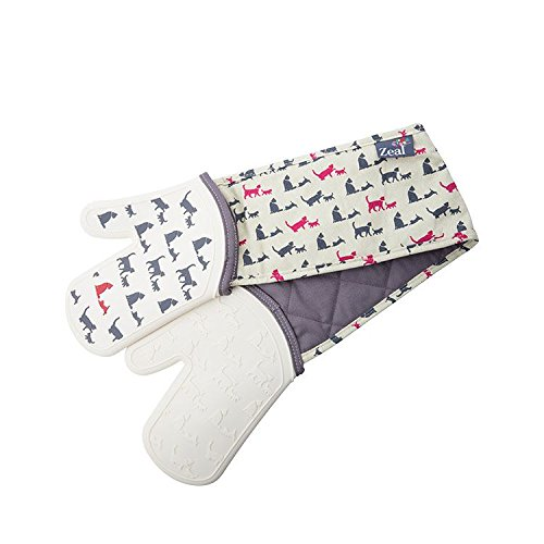 Zeal Steam Stop Silicone Waterproof Oven Mitts/Gloves, Cats Design by Zeal