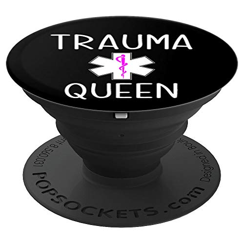Trauma Queen Funny Womens Doctor MD Medical School Student PopSockets Grip and Stand for Phones and Tablets