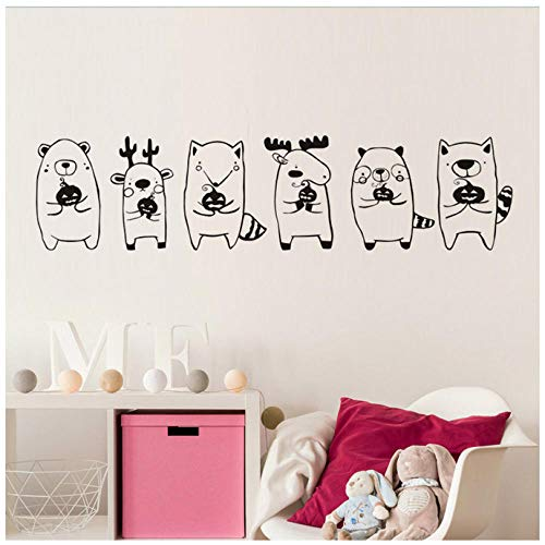 Wall Sticker Halloween Cute Animal Holding Pumpkin Paper for Kids Room DIY Decal Party Halloween Decoration Accessories 120 29 cm]()