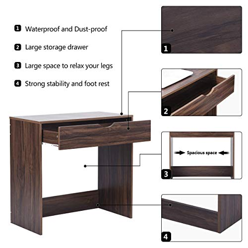 Computer Writing Desk with 1 Storage Drawer Wooden Study Table Desk for Home Office, Walnut Brown TAR012 by Coavas (Image #1)