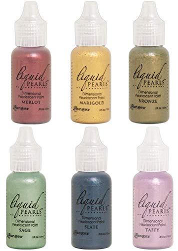 (Ranger - Liquid Pearls Pearlescent Paint 2018 Bundle of 6 Colors - Bronze, Marigold, Merlot, Sage, Slate and Taffy)
