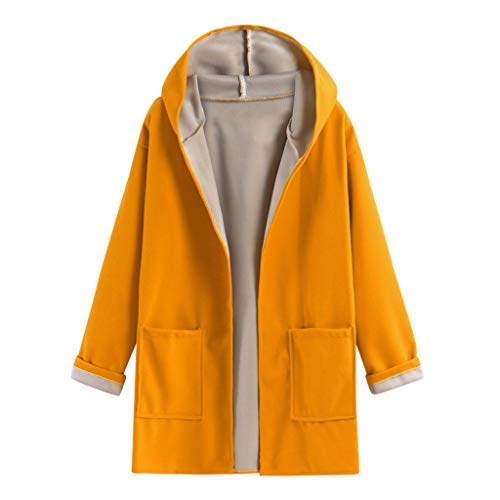 LINYIOU77 Women Fashion Open Front Cardigan Sweat Long Sleeve Solid Color Hoodies Winter Casual Loose Warm Outwear Coat Yellow