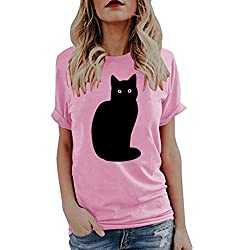 Sunmoot 2019 Newest Cute Cat Print Blouse For Women Short Sleeve Top Summer Casual Loose Character Animal Tunic