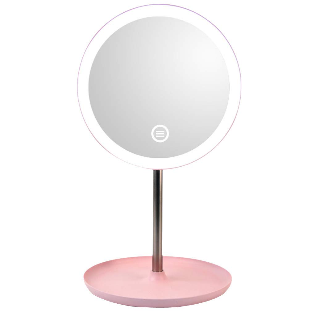shamrock58 LED Makeup Mirror with Natural White LED Daylight Detachable Storage Base 3 Modes Touch Control 360°Rotation