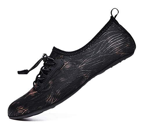 VanciLin Women's Men's Water Shoes Barefoot Quick-Dry Aqua Socks(Van96024Black40-41)