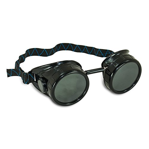 AES Industries #5 Shade Black Safety Welding Cup Goggles - 50mm Dual Lens Eye -
