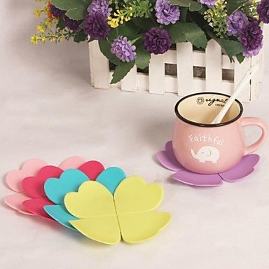 """FMY Leaves Silicone Cup Mat Heat Resistant to High Temperature Prevent Slippery 4""""x4""""x0.1""""(Color Random)"""